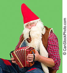 Music gnome - Funny garden gnome playing music on his...