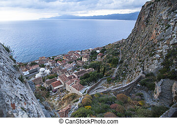 Top view of Monemvasia, Greece.