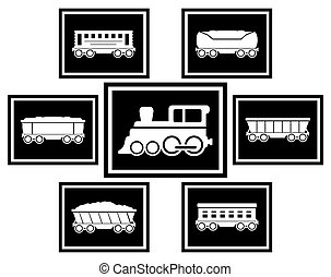 set icons for railway transportation