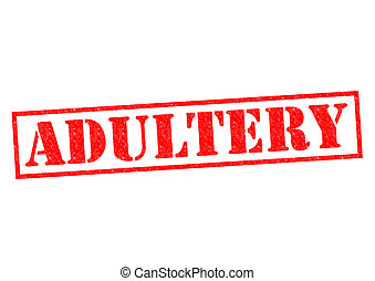 ADULTERY red Rubber Stamp over a white background
