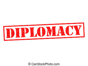 DIPLOMACY red Rubber Stamp over a white background