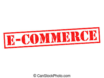 E-COMMERCE red Rubber Stamp over a white background