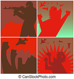 Against the war - Symbolic image of the horrors of war The...