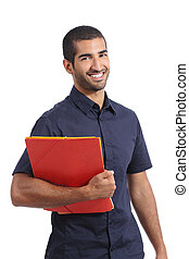 Adult casual arab man student posing standing holding...