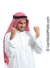 Angry and furious arab saudi man isolated on a white...