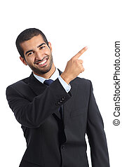 Arab business man presenter presenting and pointing at side...