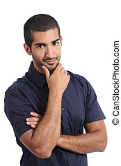 Arab handsome man posing while looking at camera isolated on...