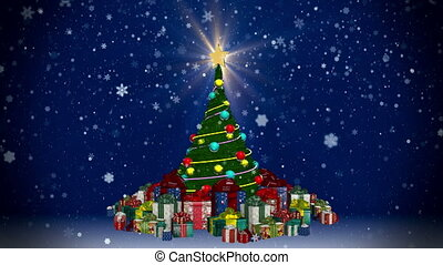 Christmas tree with gift boxes at snowfall background