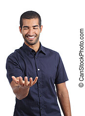 Arab happy man holding something blank in his hand isolated...