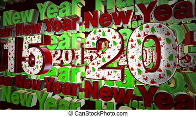 2015 new year text loop animation - 2015 new year 3d text...