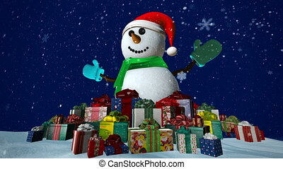 Snowman with presents - Snowman with many presents at...