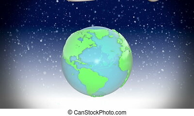 New year Earth with presents rotating around and fireworks