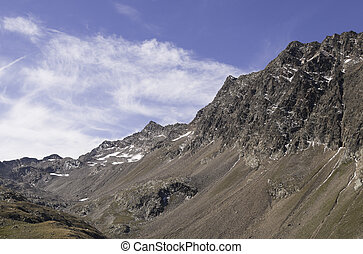 Timmelsjoch - beautiful mountain view at Timmelsjoch pass at...