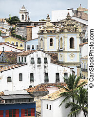 View of Pelourinho. Salvador da Bahia. Brazil. Vertical