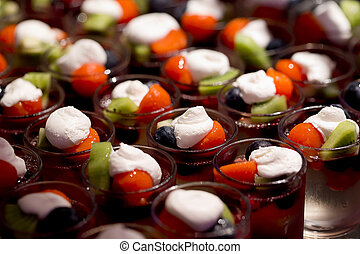 Cream and fruit dessert close up - finger food