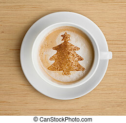 coffee cup with foam and christmas tree shape - coffee cup...