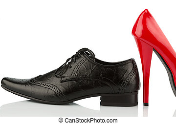 red high heels and mens shoe - womens shoes and mens shoes,...