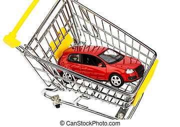 car in shopping cart - a car in the shopping cart as a...