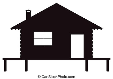 Log Cabin on Stilts Silhouette - A log cabin on stilts...