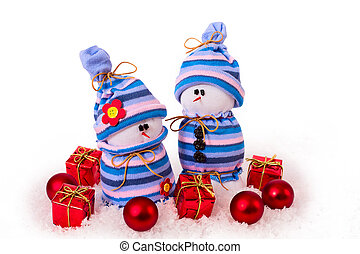Cheerful snowmen Christmas ornaments isolated - Christmas...