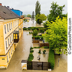 flood in 2013, linz, austria - flood 2013 linz, austria...