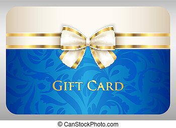 Blue gift card with damask ornament and cream ribbon