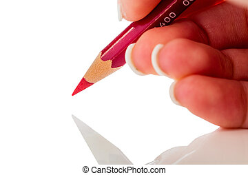 hand with red pencil - a hand holding a red pen photo icon...