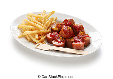 currywurst, curry sausage, german food isolated on white...