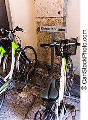 service bicycles in a cycle stand, symbol photo for mobility...