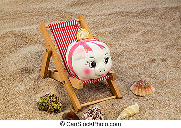 beach chair with piggy bank and euro - deck chair with euro...