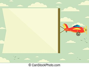 Plane with Banner, Vector Illustration - The plane flies...