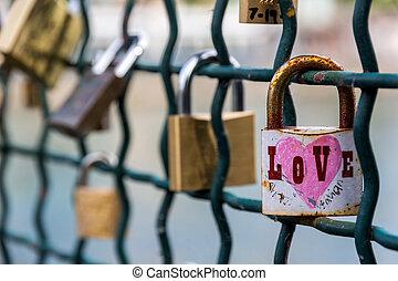 switzerland, zurich, love locks on a bridge