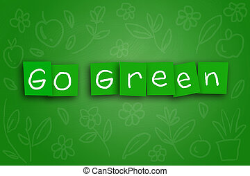 Go Green Concept - The words Go Green written on sticky...