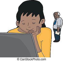Sleeping Woman at Laptop