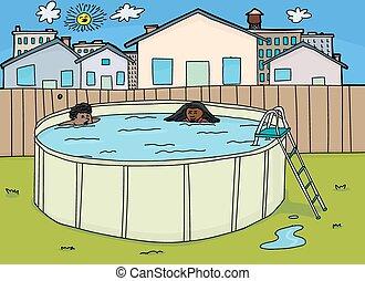 Cute Children in Pool