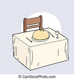 Dining Table and Chair - Cartoon table with fancy dinner...