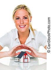 house is protected - a woman protects your house and home...