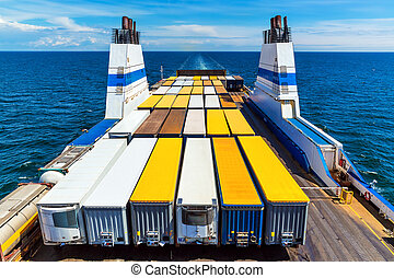 Cargo ferry commercial industrial ship with truck freight...