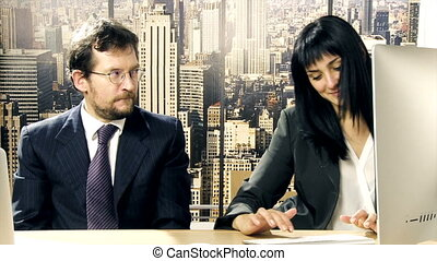 Boss flirting with secretary - Boss in office flirting with...