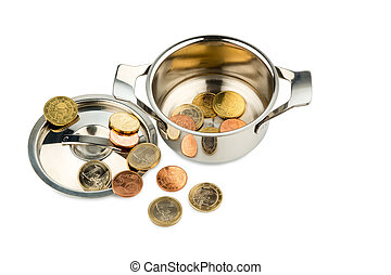 cooking pot with coins - a saucepan with a few euro coins...