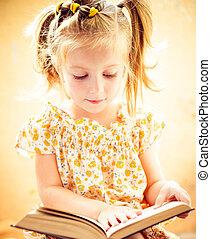 poco, niña, lectura, el, libro,