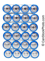 top view of pack AA electric batteries isolated