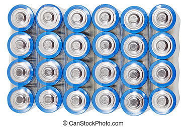 above view of pack AA electric batteries isolated