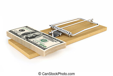 Money in a mousetrap - Pack of dollars. Money in a...