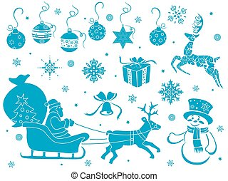 Set of Christmas stencils - Set of design stencils with...