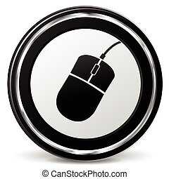 computer mouse icon - illustration of metal circle icon for...