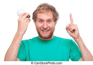 Man with idea and a bulb