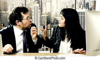 Business people fighting in office - Business man and woman...