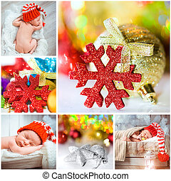 Christmas photo with a newborn baby - collage of Christmas...