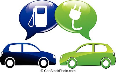 electric car concept - illustration of electric car and fuel...